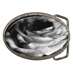 Light Black And White Rose Belt Buckle (oval)