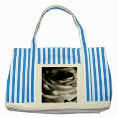 Light Black And White Rose Blue Striped Tote Bag