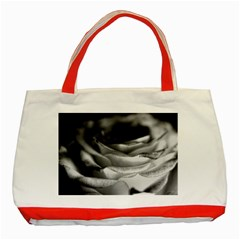 Light Black and White Rose Classic Tote Bag (Red)