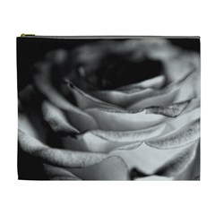 Light Black And White Rose Cosmetic Bag (xl)