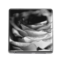 Light Black And White Rose Memory Card Reader With Storage (square)