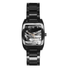 Light Black And White Rose Stainless Steel Barrel Watch