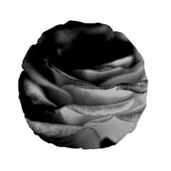 Light Black and White Rose 15  Premium Flano Round Cushion