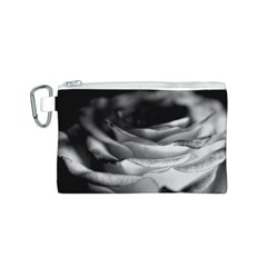 Light Black and White Rose Canvas Cosmetic Bag (Small)