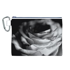 Light Black and White Rose Canvas Cosmetic Bag (Large)