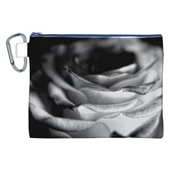Light Black and White Rose Canvas Cosmetic Bag (XXL)