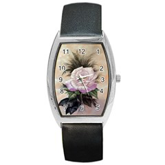 Pink Rose Tonneau Leather Watch
