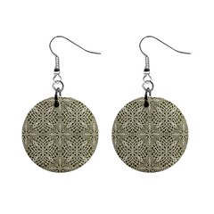 Silver Intricate Arabesque Pattern Mini Button Earrings