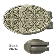 Silver Intricate Arabesque Pattern Money Clip (oval)