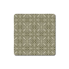 Silver Intricate Arabesque Pattern Magnet (square)