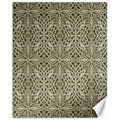 Silver Intricate Arabesque Pattern Canvas 16  X 20  (unframed)