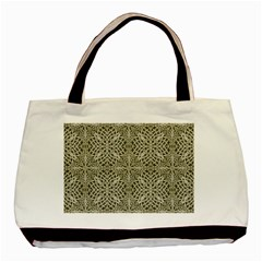 Silver Intricate Arabesque Pattern Twin Sided Black Tote Bag