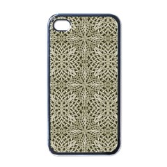 Silver Intricate Arabesque Pattern Apple Iphone 4 Case (black)
