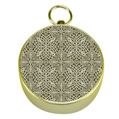 Silver Intricate Arabesque Pattern Gold Compass