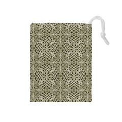 Silver Intricate Arabesque Pattern Drawstring Pouch (Medium)