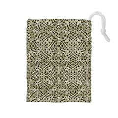 Silver Intricate Arabesque Pattern Drawstring Pouch (Large)