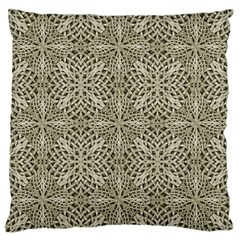 Silver Intricate Arabesque Pattern Large Flano Cushion Case (Two Sides)