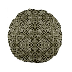 Silver Intricate Arabesque Pattern 15  Premium Flano Round Cushion