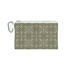 Silver Intricate Arabesque Pattern Canvas Cosmetic Bag (Small)