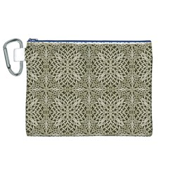 Silver Intricate Arabesque Pattern Canvas Cosmetic Bag (XL)