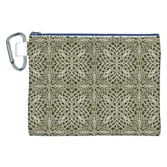 Silver Intricate Arabesque Pattern Canvas Cosmetic Bag (XXL)
