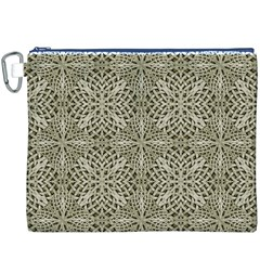 Silver Intricate Arabesque Pattern Canvas Cosmetic Bag (XXXL)