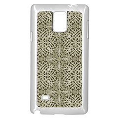 Silver Intricate Arabesque Pattern Samsung Galaxy Note 4 Case (White)