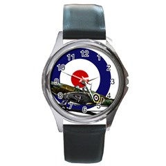 Spitfire And Roundel Round Leather Watch (silver Rim)
