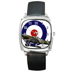 Spitfire And Roundel Square Leather Watch