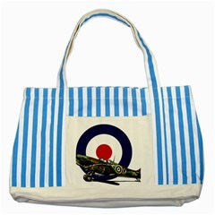 Spitfire And Roundel Blue Striped Tote Bag