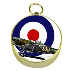 Spitfire And Roundel Gold Compass