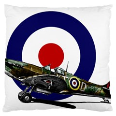 Spitfire And Roundel Large Flano Cushion Case (Two Sides)