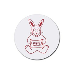 Cute Bunny Happy Easter Drawing I Drink Coaster (round)