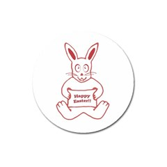 Cute Bunny Happy Easter Drawing I Magnet 3  (round)