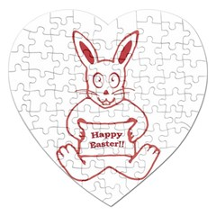 Cute Bunny Happy Easter Drawing i Jigsaw Puzzle (Heart)