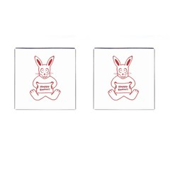 Cute Bunny Happy Easter Drawing I Cufflinks (square)