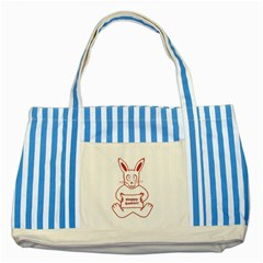 Cute Bunny Happy Easter Drawing i Blue Striped Tote Bag