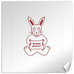 Cute Bunny Happy Easter Drawing i Canvas 20  x 20  (Unframed)