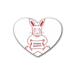 Cute Bunny Happy Easter Drawing I Drink Coasters (heart)