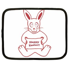 Cute Bunny Happy Easter Drawing I Netbook Sleeve (large)