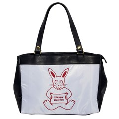 Cute Bunny Happy Easter Drawing I Oversize Office Handbag (one Side)