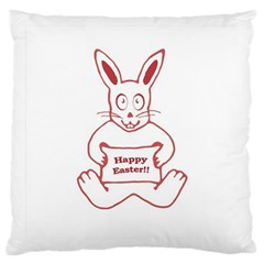Cute Bunny Happy Easter Drawing I Large Cushion Case (two Sided)
