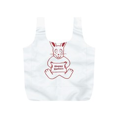Cute Bunny Happy Easter Drawing i Reusable Bag (S)