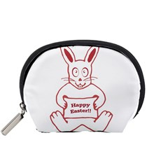Cute Bunny Happy Easter Drawing i Accessory Pouch (Small)
