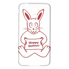 Cute Bunny Happy Easter Drawing i Samsung Galaxy S5 Back Case (White)