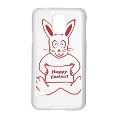 Cute Bunny Happy Easter Drawing i Samsung Galaxy S5 Case (White)