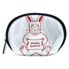 Cute Bunny Happy Easter Drawing i Accessory Pouch (Medium)