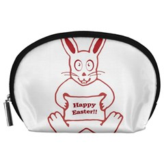 Cute Bunny Happy Easter Drawing i Accessory Pouch (Large)