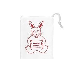 Cute Bunny Happy Easter Drawing I Drawstring Pouch (small)