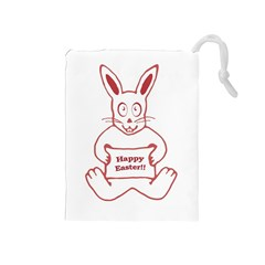 Cute Bunny Happy Easter Drawing I Drawstring Pouch (medium)